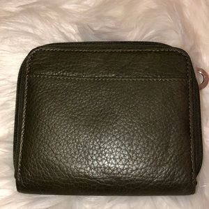 Olive Leather Zip Closure Wallet Good Condition